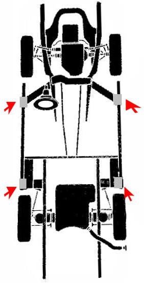 puntos de apoyo para elevar un vehiculo chrysler