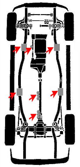 puntos de apoyo para elevar un vehiculo infiniti  isuzu