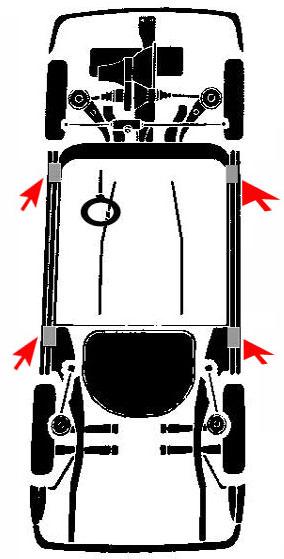 puntos de apoyo para elevar un vehiculo chevrolet
