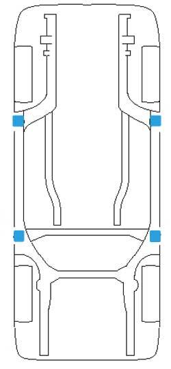 puntos de apoyo para elevar un vehiculo volkswagen